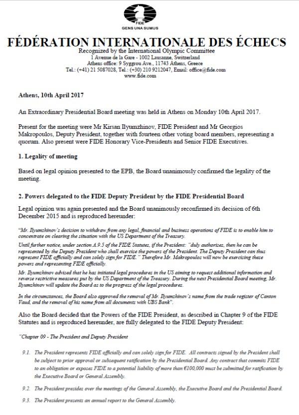 Comunicado de prensa de Ilyuzhinov (1)