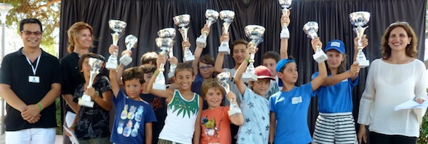 There were plenty of prizes to encourage the best players of the children' tournament (photo: Ligue Corse d'echecs)