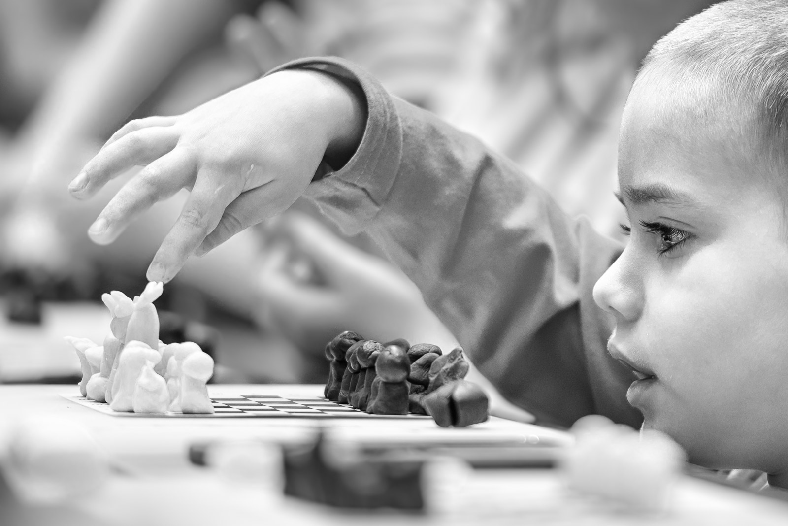 Marzipan chess pieces with boy