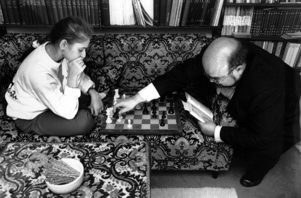 Gisbert Jacoby entrenando con Judit Polgar | Foto: archivo de ChessBase