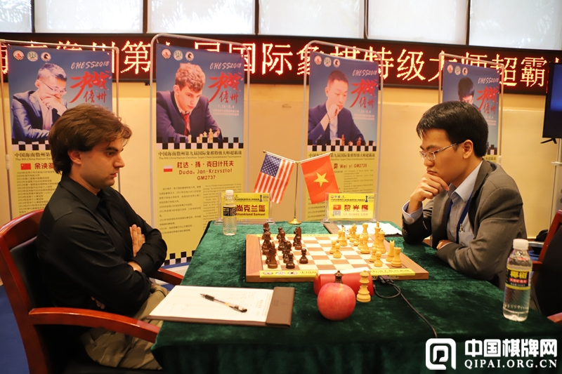 Le Quang Liem and Samuel Shankland playing their sixth round game at the Hainan Danzhou Masters