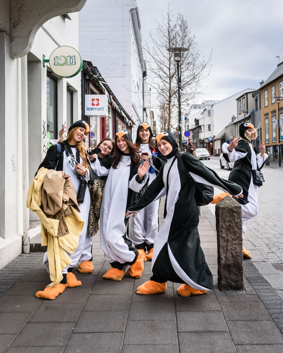 People in puffin costumes