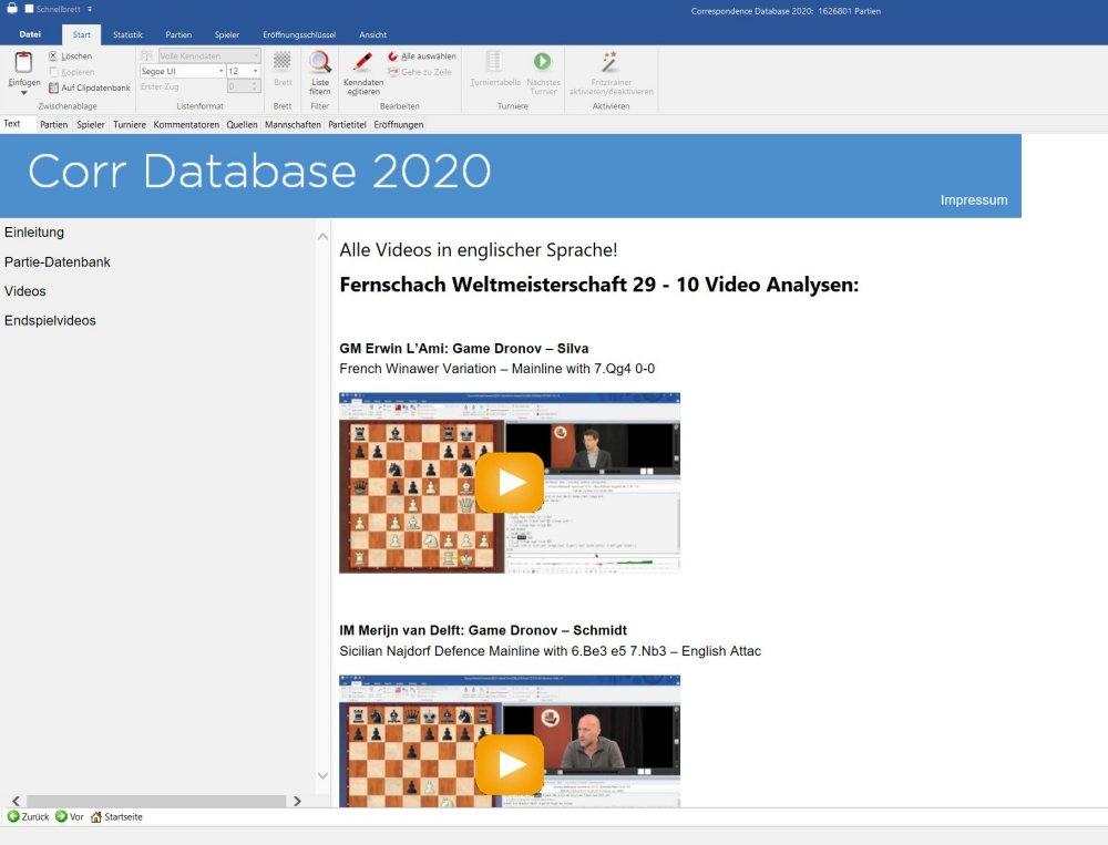 Neu: Corr Database 2020   ChessBase